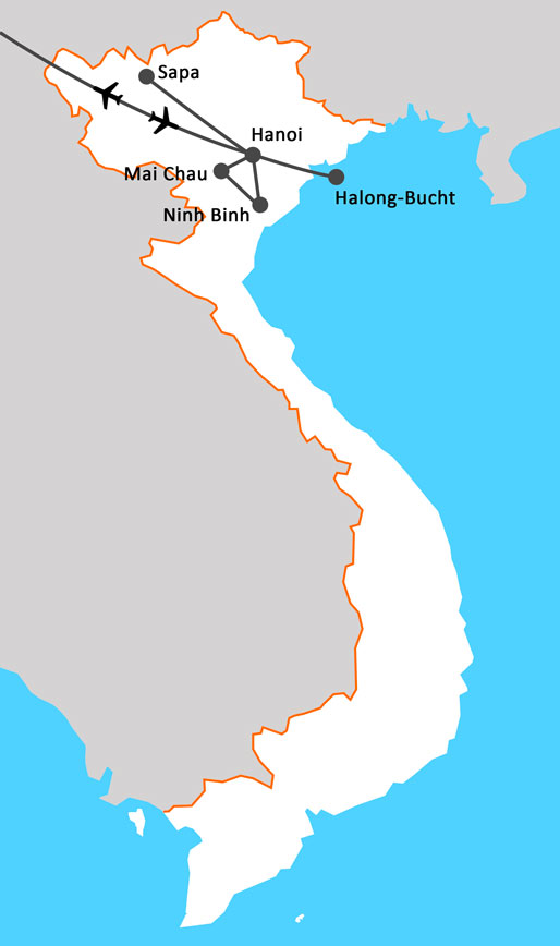 Landkarte Begegnungen im Nordvietnam