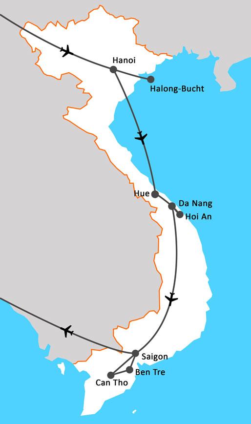 Landkarte Eindrücke Vietnams