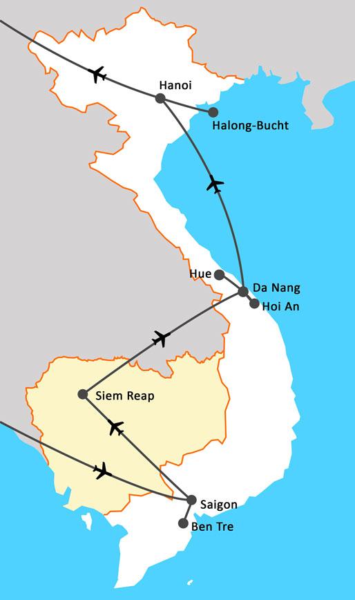Landkarte Juwelen Vietnams & Kambodschas