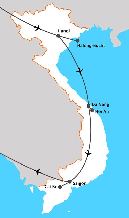 Landkarte Perlen Vietnams & Vietnam exquisit
