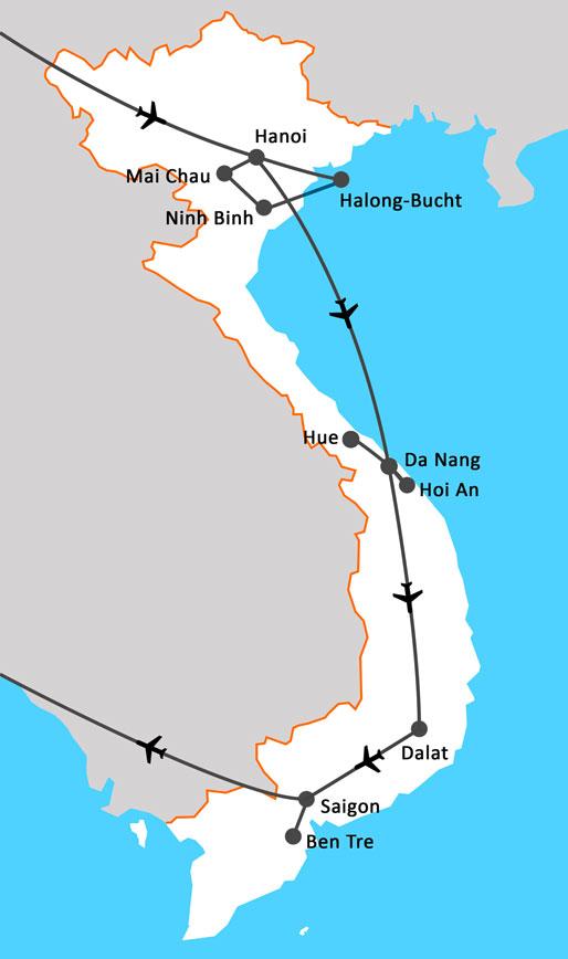 Landkarte Vietnam auf Traumpfaden