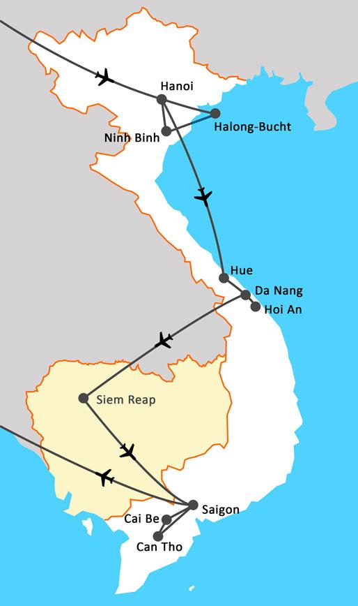 Landkarte Vietnam Kambodscha umfassend